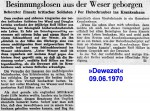 1970/06/09 –  Insensate man pulled out of the Weser – Besinnungslosen Mann aus der Weser gezogen